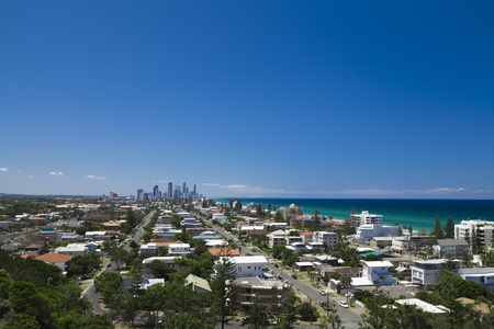 Sunny Gold Coast view of Surfers Paradise, Broadbeach and Mermaid Beach Stock Photo - 12579695