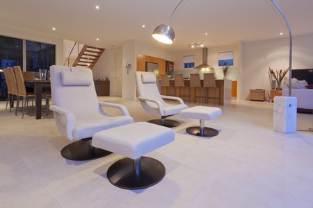 recliner: Stylish living room and kithchen with modern recliner chairs and lamp