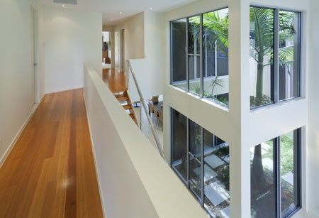 openspace: Interior view of modern multilevel house Stock Photo