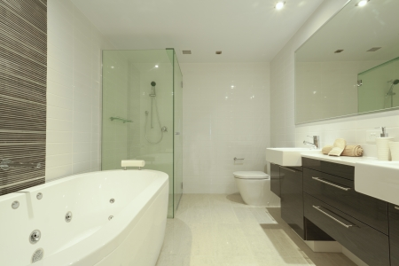 Stylish twin bathroom with two sinks, mirror, shower, toilet and round bathtub  photo