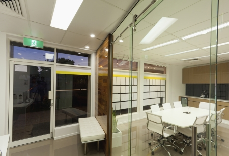 new office space: New board room and office entrance. Stock Photo