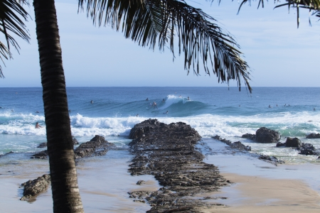 Surfers catching big waves at Snapper Rocks on the Gold Coast, Queensland, Australia photo