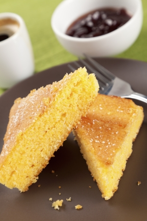 sweet corn: Corn cake with strawberry jam and short black coffee (traditional brazilian Fuba cake) Stock Photo