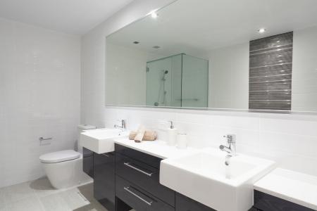 cuarto de ba�o: Cuarto de ba�o moderno con doble lavamanos, inodoro y ducha. Foto de archivo