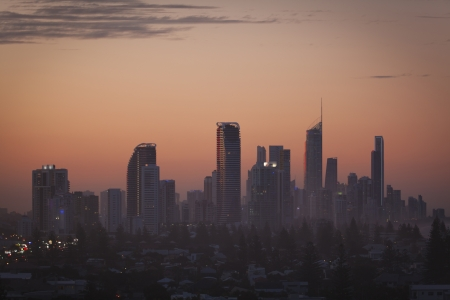 Gold Coast highrises at red sunset, Queensland, Australia. Stock Photo - 13834867