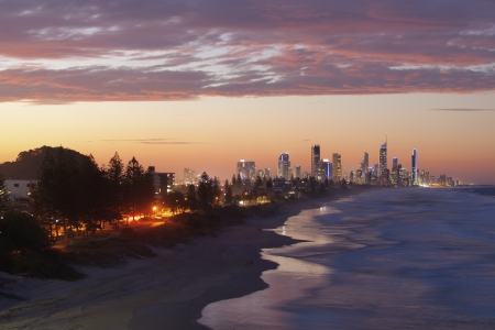 surfers: Surfers Paradise and Broadbeach at sunset
