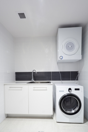 laundry room: Laundry room in new appartment  Stock Photo