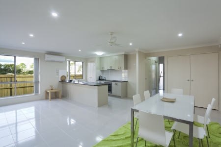 Modern kitchen and dining area in Australian townhouse Stock Photo - 16791390