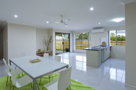 New kitchen and dining area in suburban Australian house photo
