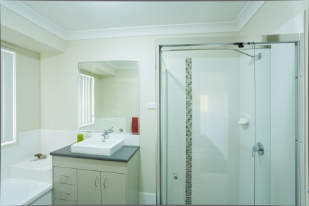 australian: New modern bathroom in australian townhouse Stock Photo