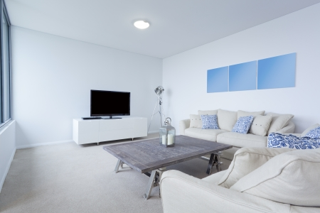 #16791286   Modern Living Room With Couches And TV In New Australian  Apartment