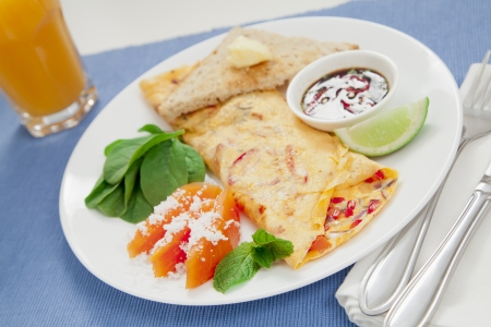 omelet: Healthy omelette with chillies, coriander, paw paw, spinach lime and spicy soy sauce