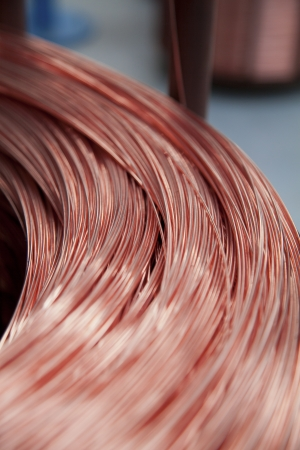 conductor: Close up of copper wire spool Stock Photo