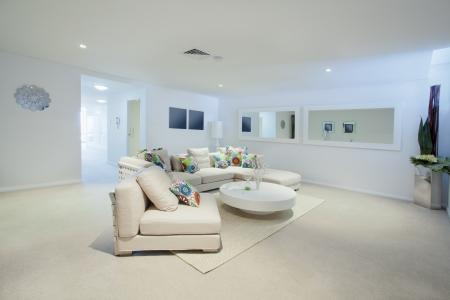 #16791301   Moderne Wohnzimmer Mit Sofa Und Runden Tisch Im Neuen  Australischen Wohnung