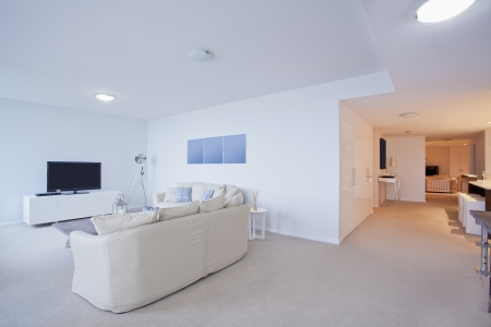 Modern Living Room With Couches And TV In New Australian Apartment Stock  Photo   16791292