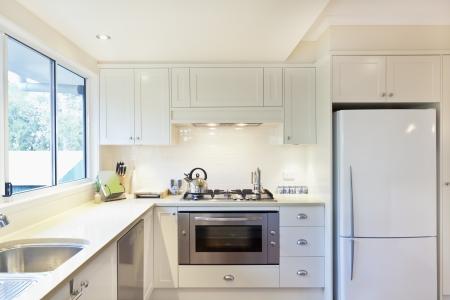 gourmet kitchen: Modern gourmet kitchen interior Stock Photo