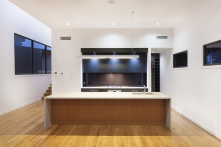 Modern kitchen interior in luxury house photo