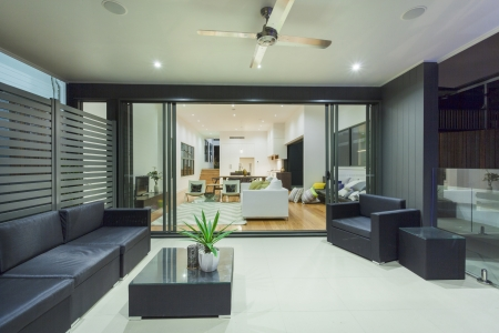 Modern house interior and entertaining area photo