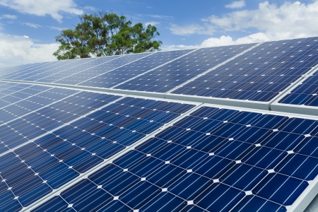 solar roof: Solar panels on factory roof  Stock Photo