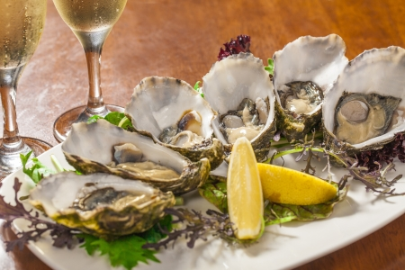 Fresh oysters with lemon wedge photo