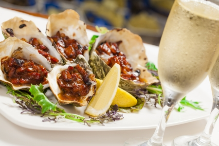entrees: Delicious oven baked oysters kilkpatrick