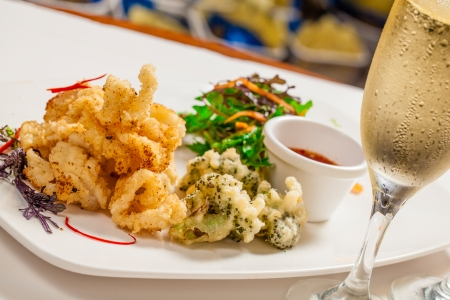 finger food: Deep fried squid on plate