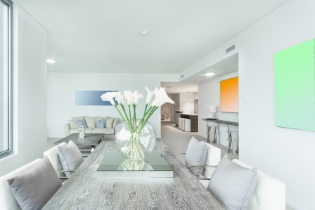 entertaining area: Dining area in modern apartment Stock Photo