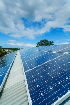 Solar panels on factory roof Stock Photo - 18658344
