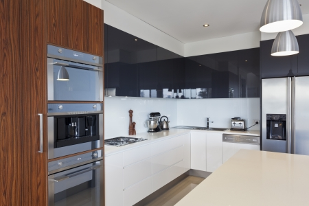 stainless steel kitchen: Modern new kitchen with expensive appliances Stock Photo