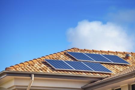 Solar panels on suburban Australian home