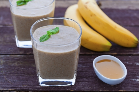 Banana, honey, maca powder and chia seed smoothie photo