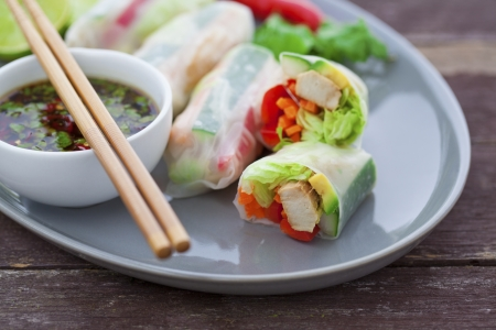 rice paper: Rice paper rolls with chicken and dipping sauce Stock Photo