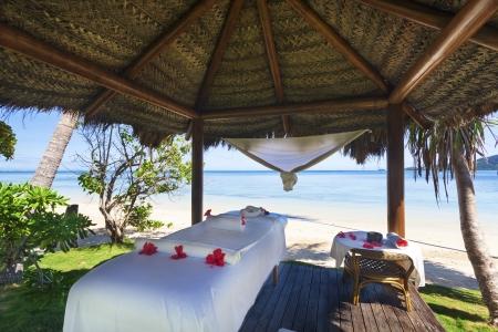 gazebo: Massage hut on tropical Fiji beach