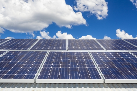 electric grid: Solar panels on roof Stock Photo