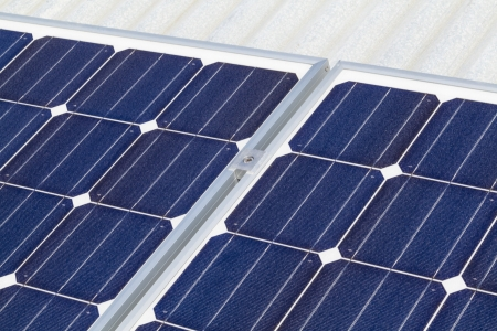 electric grid: Close up of solar panels Stock Photo
