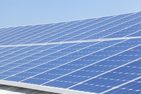 carbon neutral: Solar panels on roof Stock Photo
