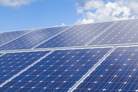 photovoltaic panel: Solar panels on roof Stock Photo