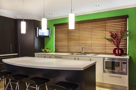 Luxurious new kitchen with modern appliances Standard-Bild