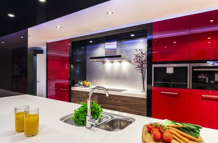 prestige: Luxurious new kitchen with modern appliances Stock Photo