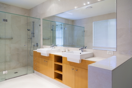bathroom mirror: Stylish double bathroom