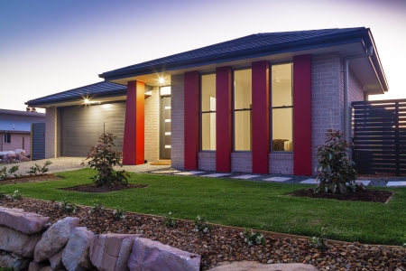 New australian townhouse front at dusk