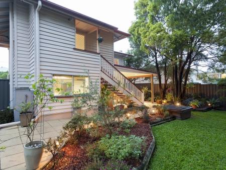Stylish Australian home at dusk photo