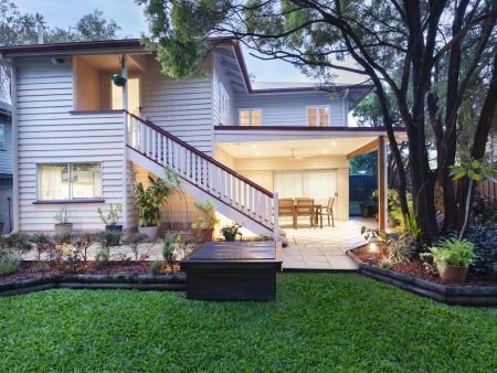 Stylish Australian home at dusk photo