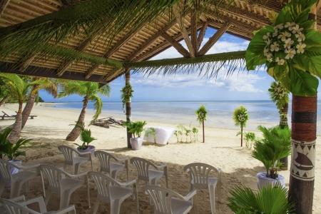 Tropical wedding reception photo
