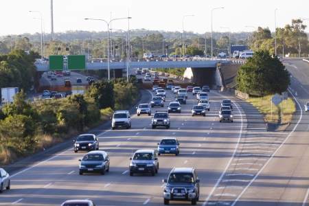 Busy australian highway at peak hour Banco de Imagens