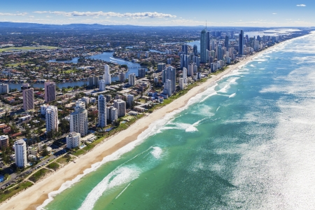 strand australie: Luchtfoto van Gold Coast, Queensland, Australië