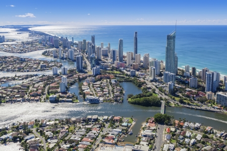australia beach: Aerial view of Surfers Paradise, Queensland, Australia Stock Photo