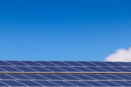 Large solar panel installation on roof Stock Photo - 20591093