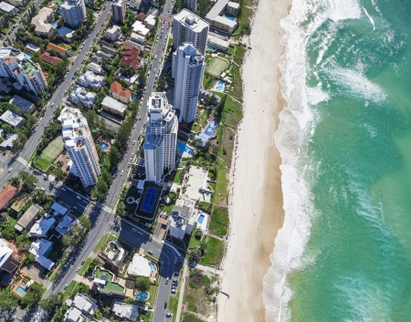 Aerial view of hotels and resorts in Surfers Paradise, Gold Coast, Australia Stock Photo - 21838012