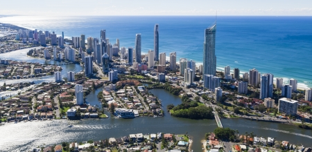 surfers paradise: View of Surfers Paradise from aeroplane
